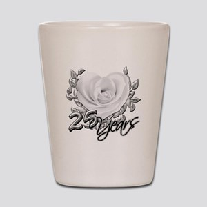 Silver Anniversary Rose Shot Glass